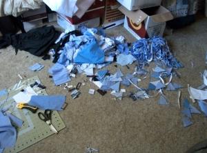 Blue scraps