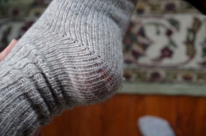 old wool socks-heels