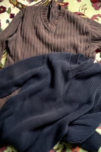 brown black sweaters